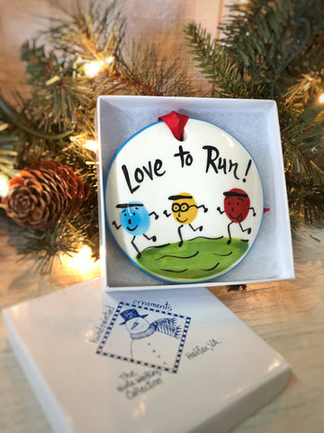 Love to Run Handpainted Ornament - nolawatkins.com