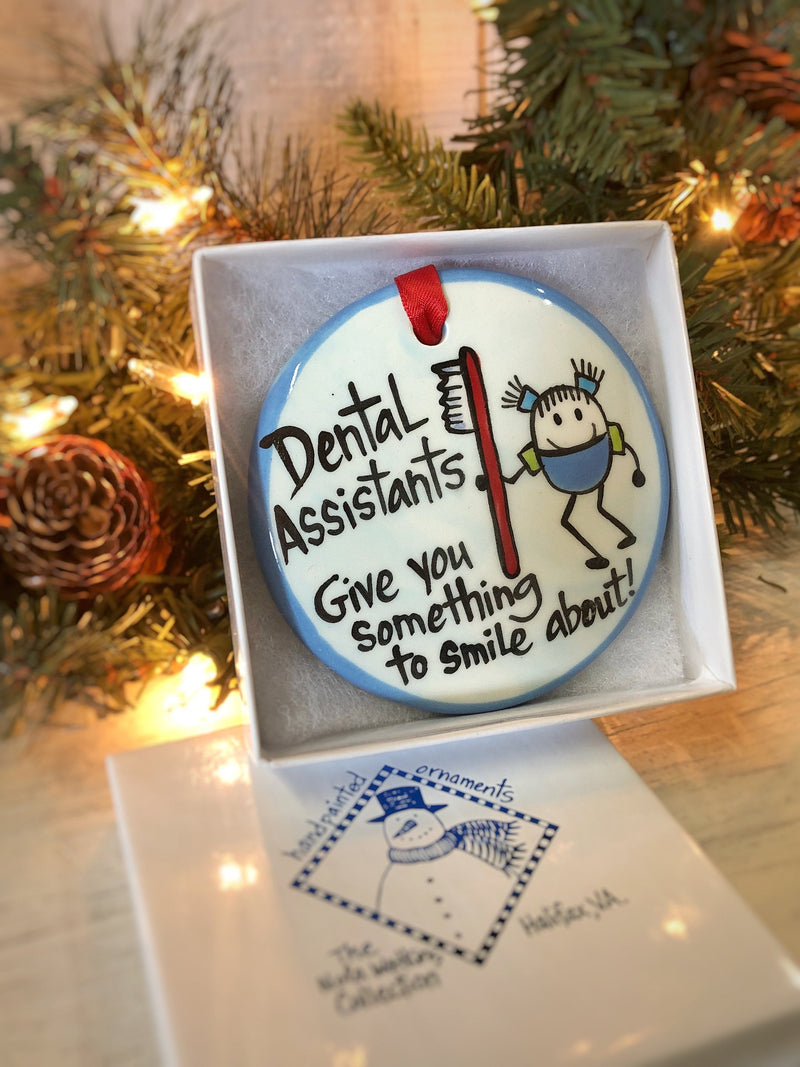 Dental Assistant Handpainted Ornament - nolawatkins.com