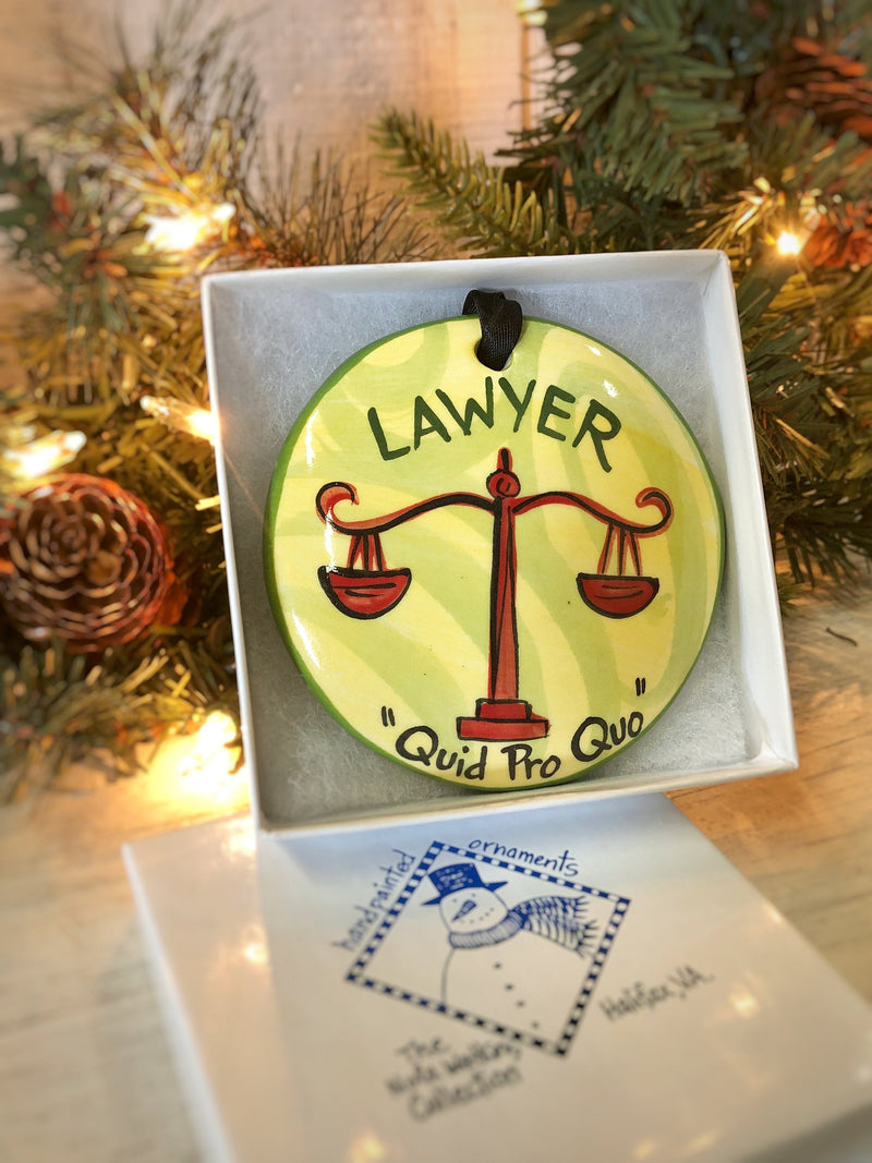Lawyer Handpainted Ornament - nolawatkins.com