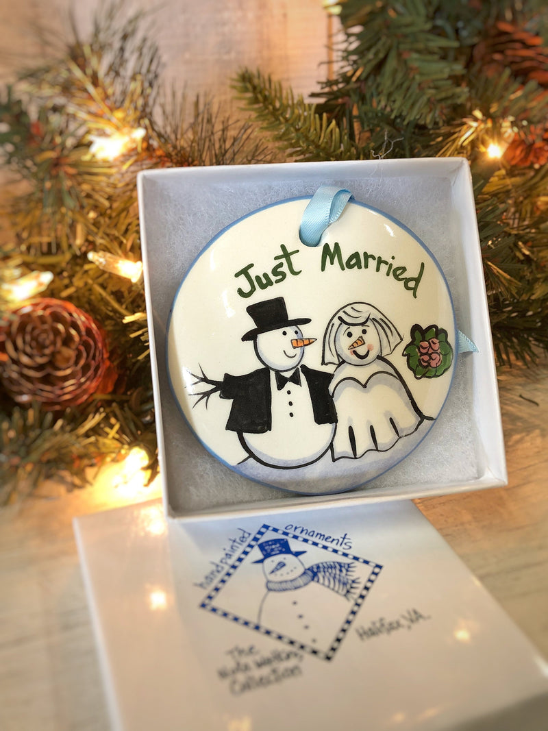 Just Married Snowcouple Handpainted Ornament - nolawatkins.com