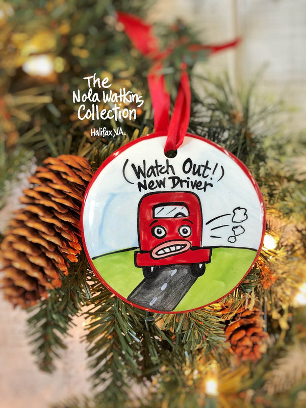 New Driver Handpainted Ornament - nolawatkins.com