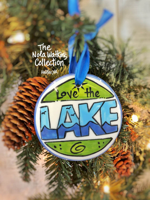 Love the Lake Handpainted Ornament - nolawatkins.com