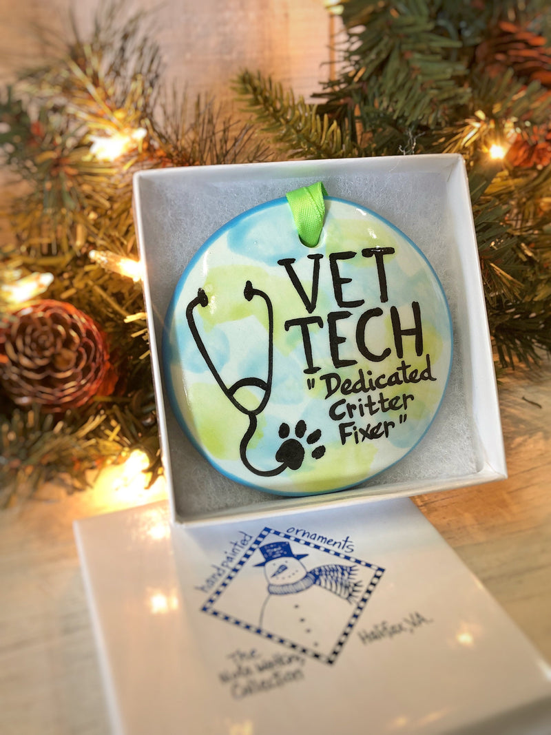 Vet Tech Handpainted Ornament - nolawatkins.com
