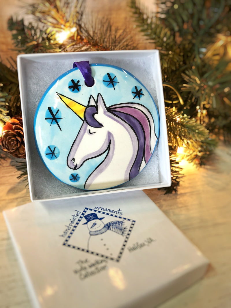 Unicorn Handpainted Ornament - nolawatkins.com