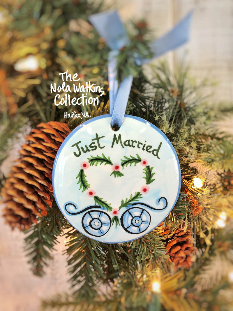 Just Married Carriage Handpainted Ornament - nolawatkins.com