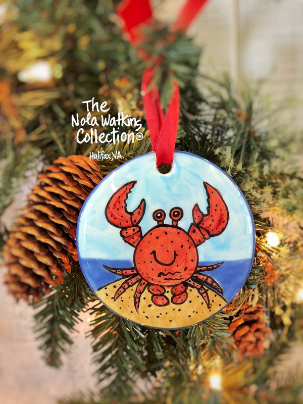 Red Crab Handpainted Ornament - nolawatkins.com