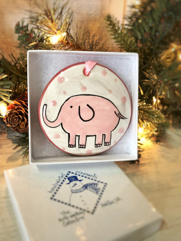 Pink Elephant Baby's 1st Christmas Handpainted Ornament - The Nola Watkins Collection