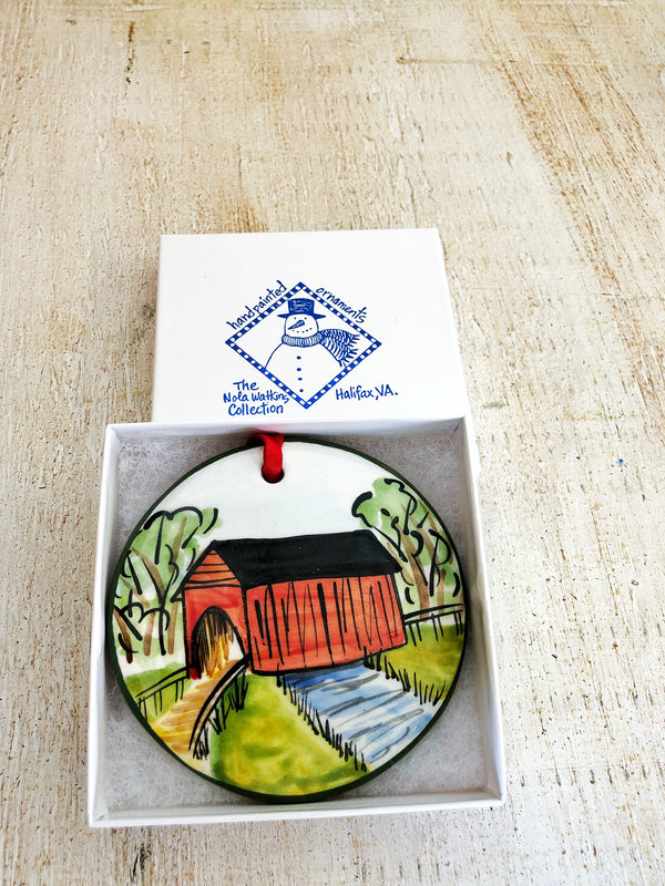 Covered Bridge Handpainted Ornament - nolawatkins.com