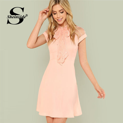 ead4ef951e4 Sheinside Pink Pearl Beading A Line Dress Mesh Shoulder Tie Neck Fit and  Flare Dress Plain