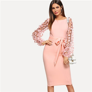 1a40a122496 SHEIN Pink Elegant Party Flower Applique Contrast Mesh Sleeve Form Fitting  Belted Solid Dress 2018 Autumn
