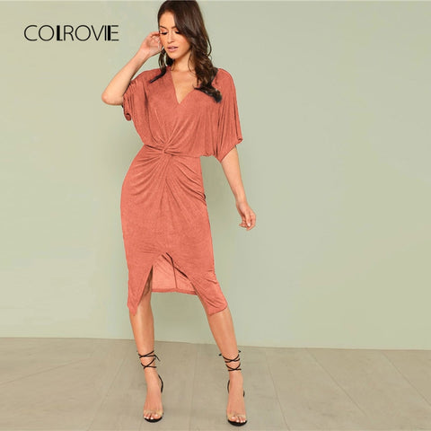551ad4eaa23 COLROVIE Pink Solid Split Twist High Waist Sexy Dress Women 2018 Autumn  Streetwear Vintage Party Dress