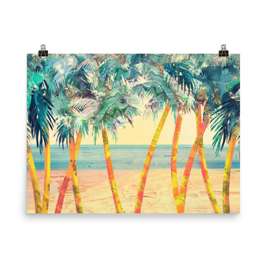 Palm Trees In Beach Art Print