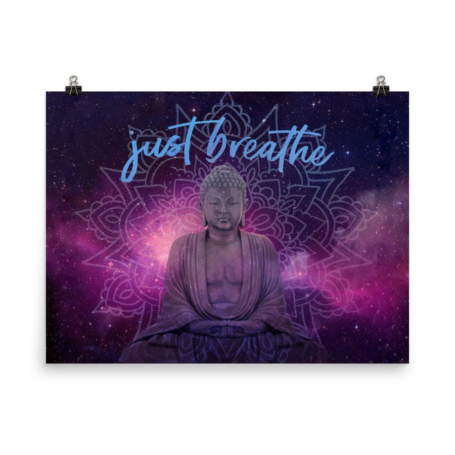 Just Breathe Buddha Galaxy Art Print