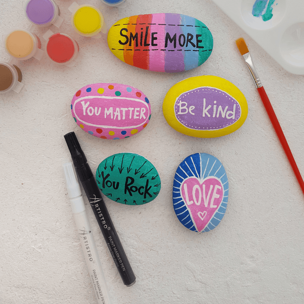 Painting Inspirational Rocks Together in 4 Easy Steps | Artistro