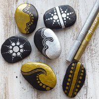 Gold and silver rock painting designs | Artistro