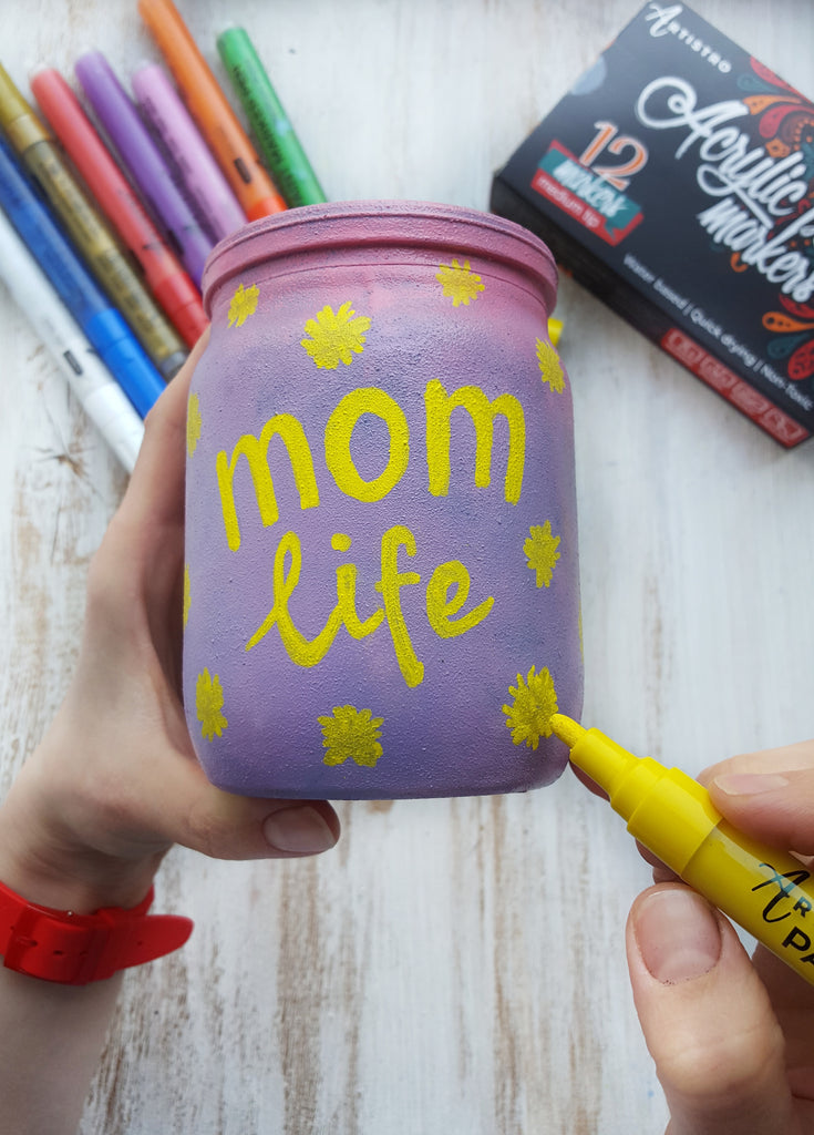 glass jar painting for mom