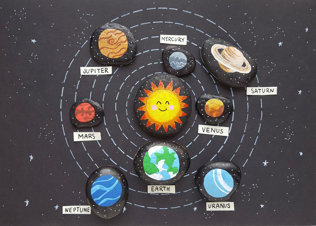 solar system rock painting