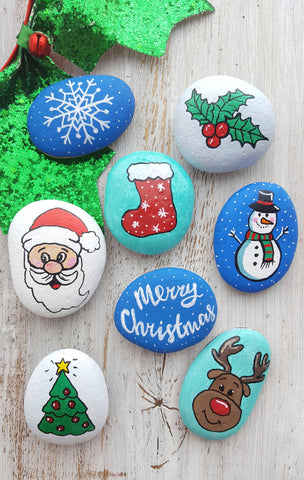 merry christmas rock painting