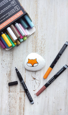 fox painting on stone
