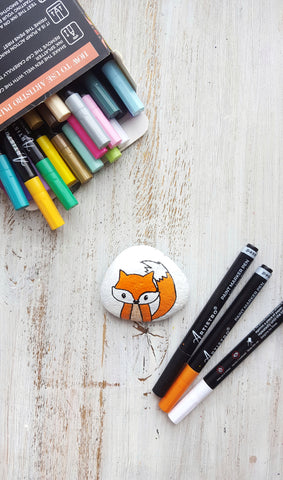 fox painted rock