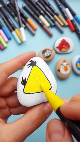 how to paint bird on rocks