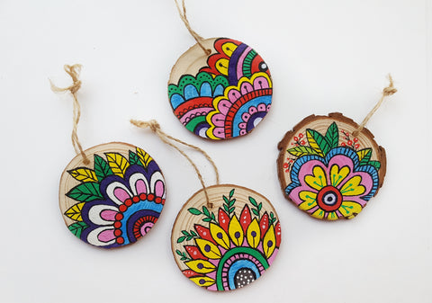 flower ornament wood painting