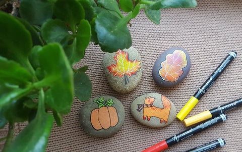 autumn rock painting