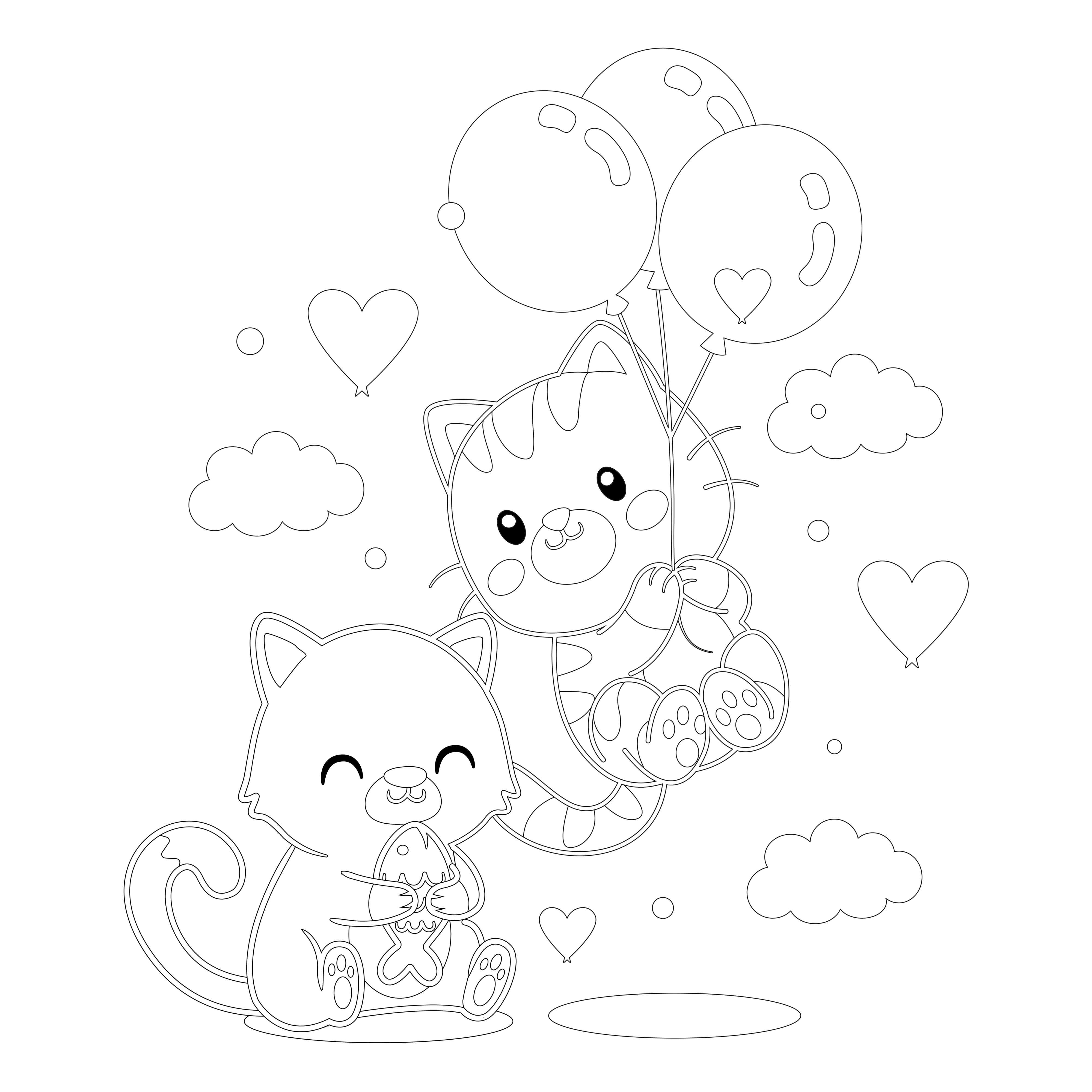 Balloon Adventure coloring pages for adults