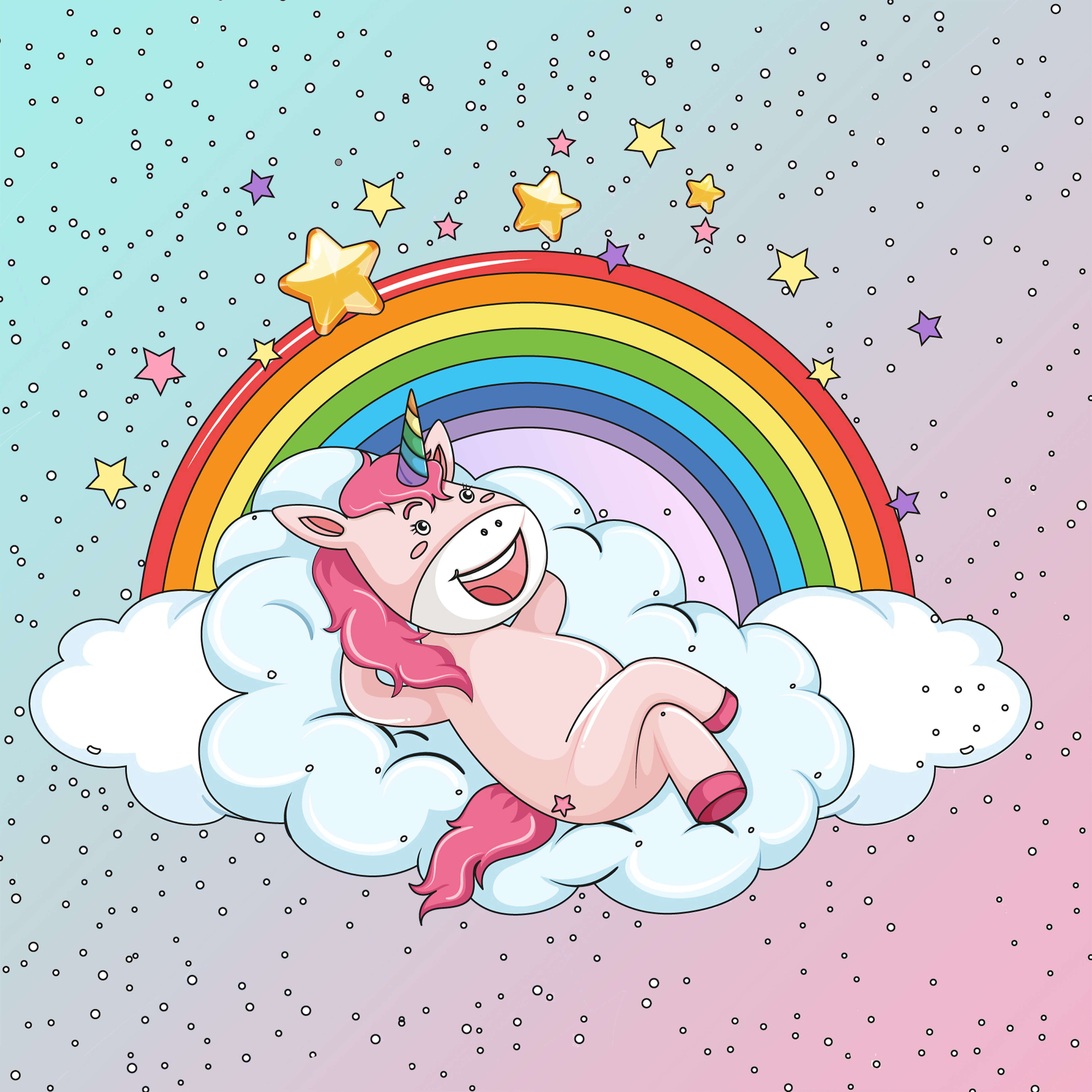 Rainbow Unicorn colored free coloring pages to print for adults