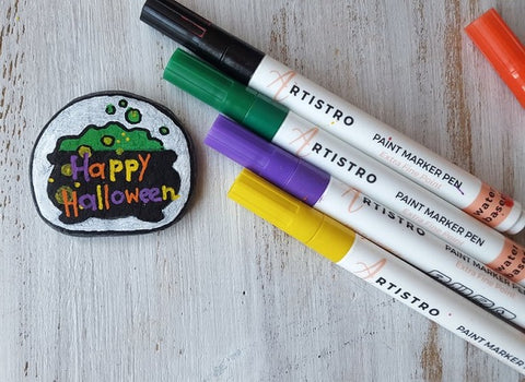 Branded Halloween cocktail Rock Painting ideas