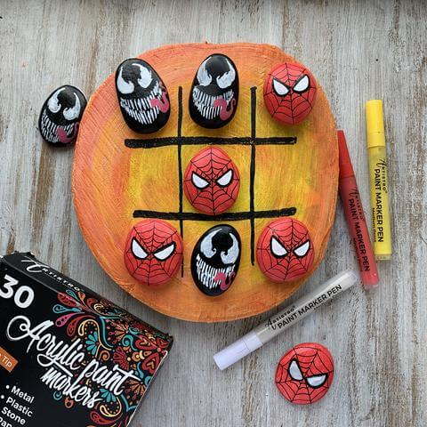 spiderman painted stones