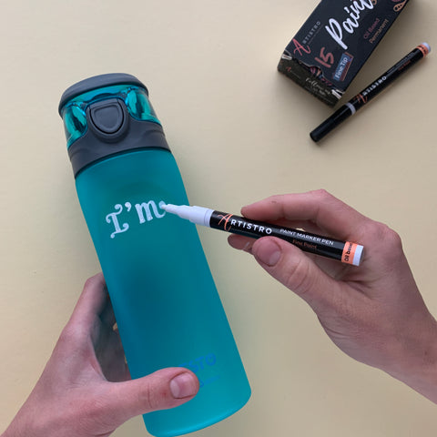 painting a water bottle - step 1