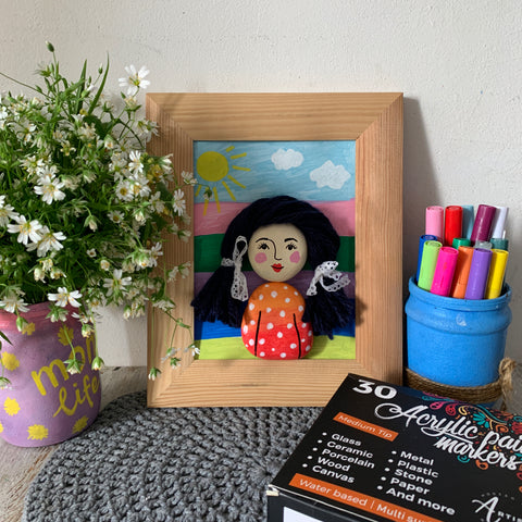 girl picture Rock Painting ideas