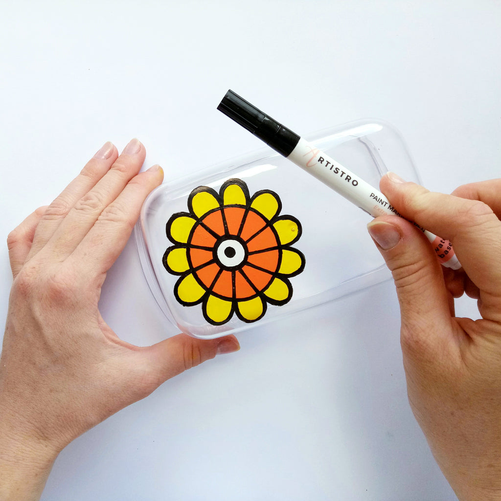 flower painted butter dish