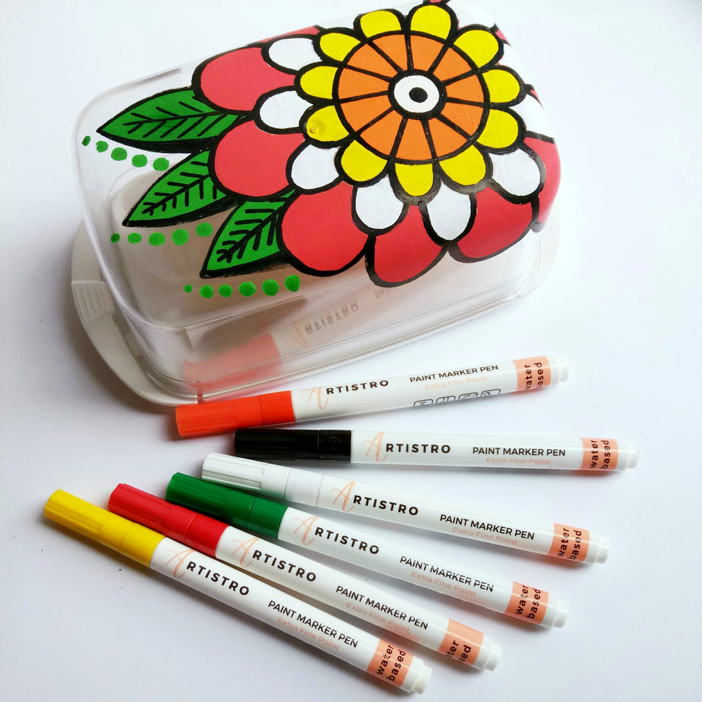 flower diy butter dish painting