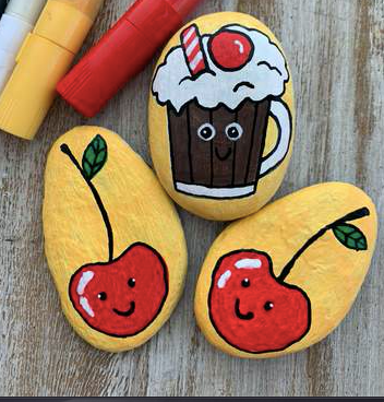 Drinks for National Root Beer Float Day Rock Painting ideas