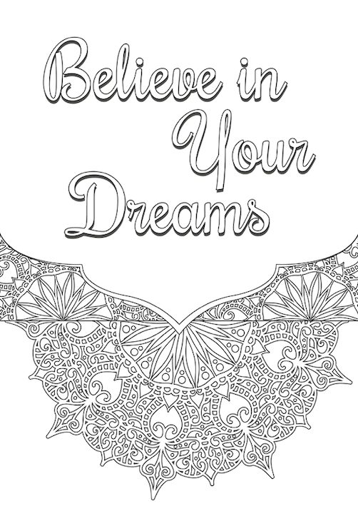 Dream Big free coloring pages for adults