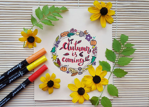 painted postcard autumn is coming