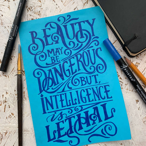 Hand lettering with phrase