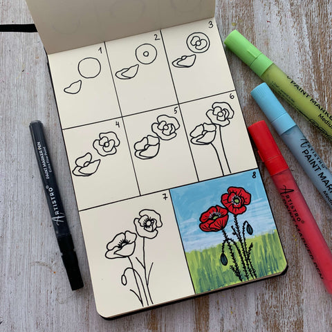 Blooming poppy valley drawing
