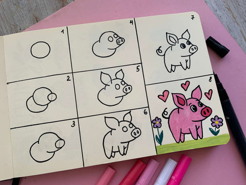 Step by Step drawing pig