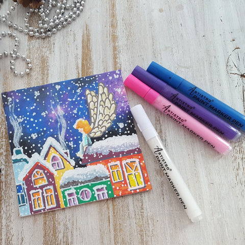 Christmas Eve Landscape canvas angel drawing-things to draw