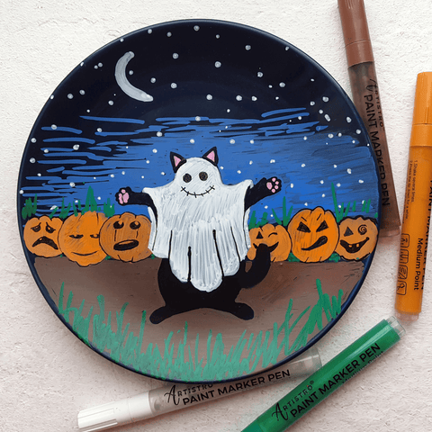 ceramic plate with ghost cat