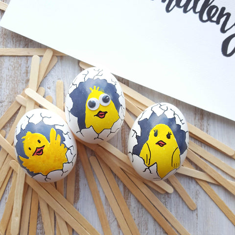 Spring chicken egg paintings