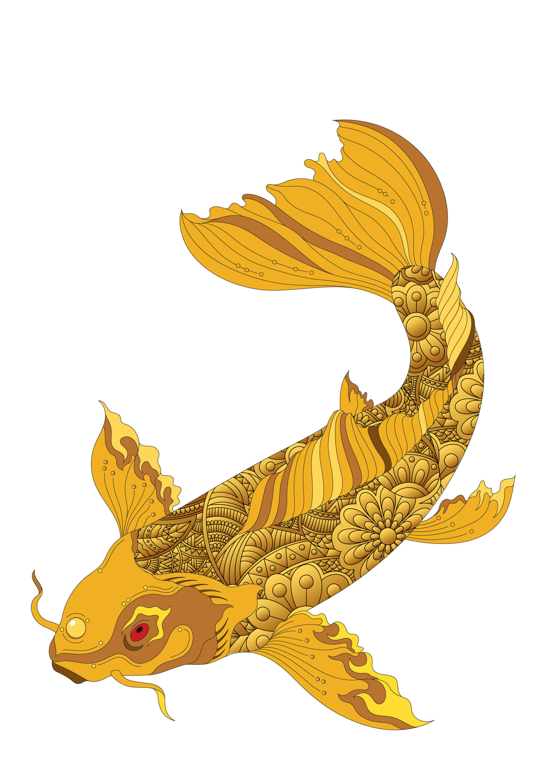 Golden Fish free coloring pages to print