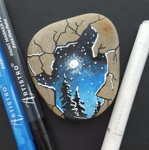 Moonlight Forest Rock Painting ideas