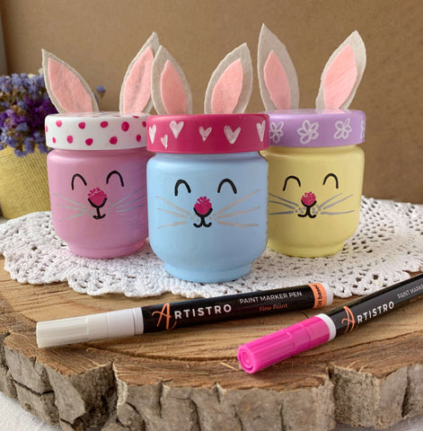 Cute bunny glass painting