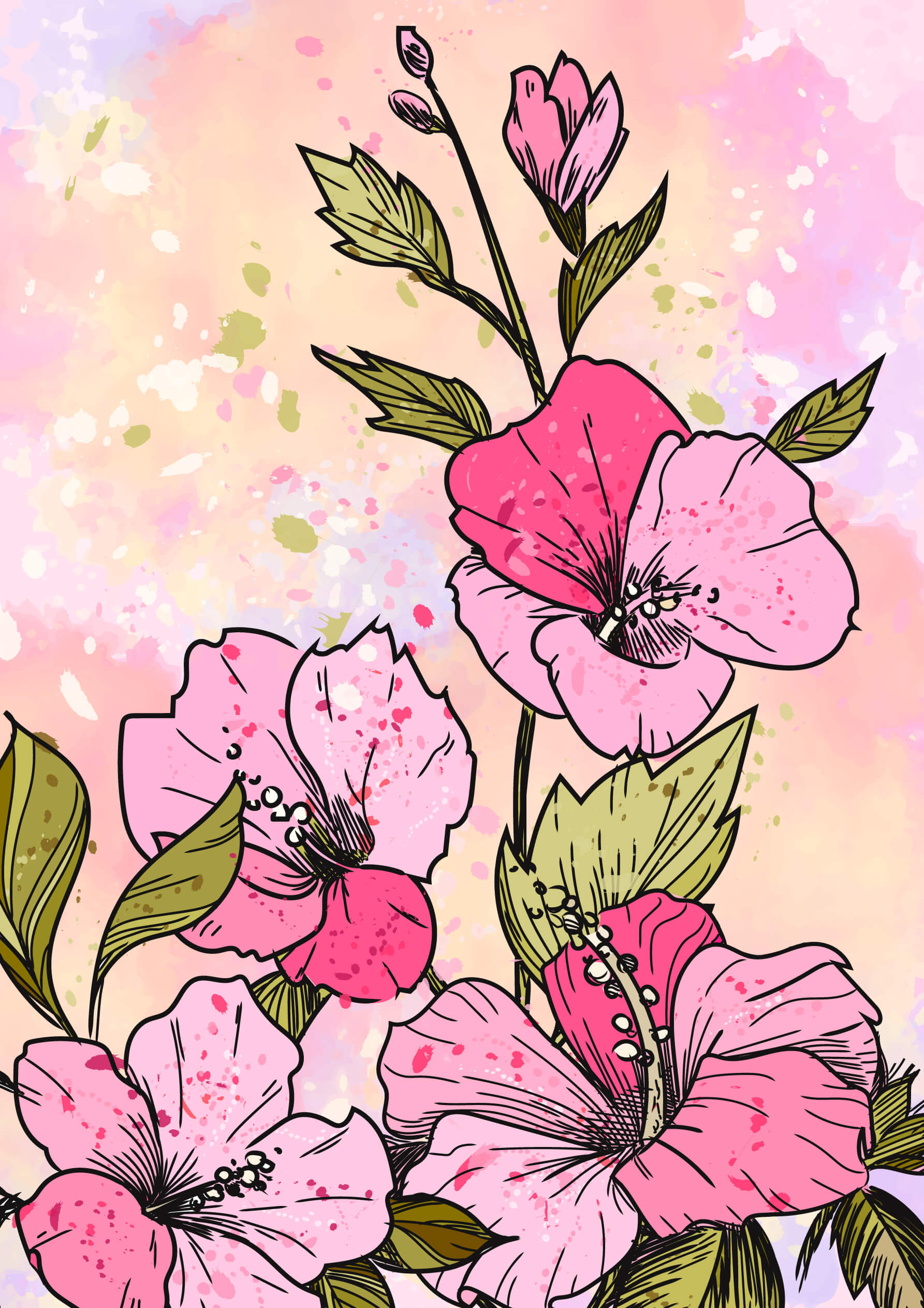 Hibiscus Bouquet colored free coloring pages to print