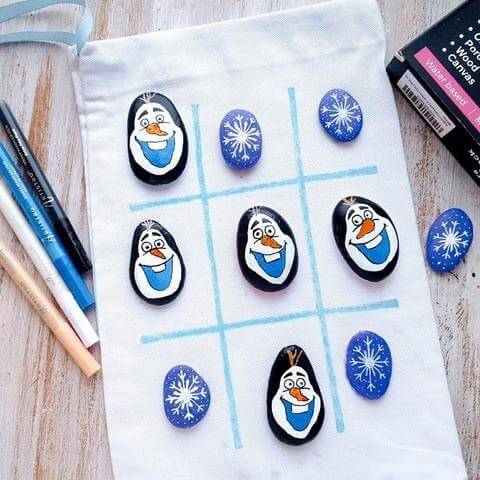 olaf rock painting project