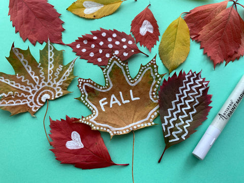 Creative painted leaves